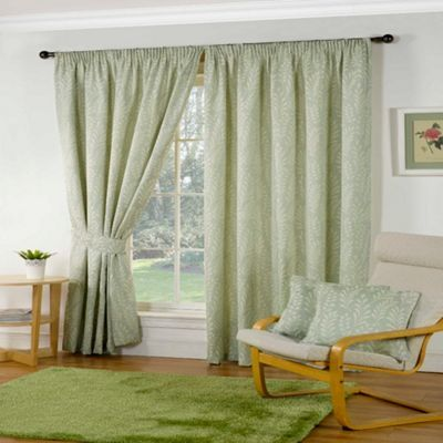 Sundour Marlborough Green Lined Pencil Pleat Curtains- at Debenhams.com