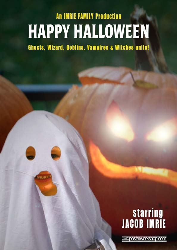 Personalized Kids Halloween Movie Poster  - just add your Halloween costume or use our Ghost!  From $45 (A4 Movie Poster Print)  www.posterworkshop.com