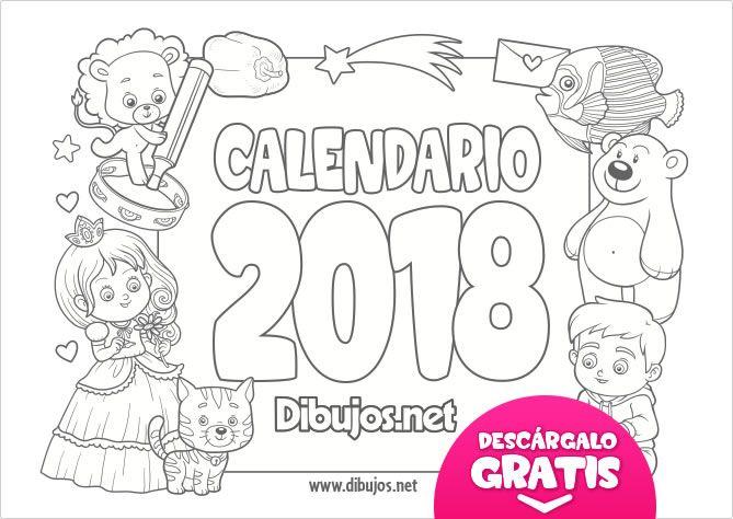 Calendario Infantil 2018 Para Imprimir Y Colorear Dibujos