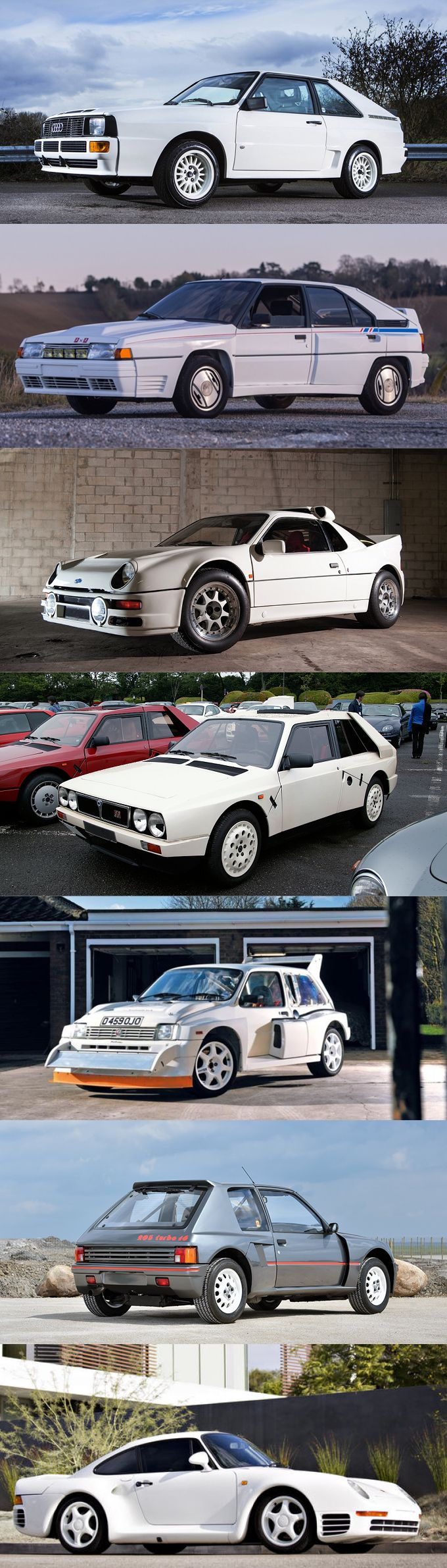 1983 Group B / Audi Sport Quattro / Citroën BX 4TC / Ford RS200 / Lancia Delta S4 / MG Metro 6R4 / Peugeot 205 Turbo 16 / Porsche 959 / white gray / Germany France UK Italy / #list