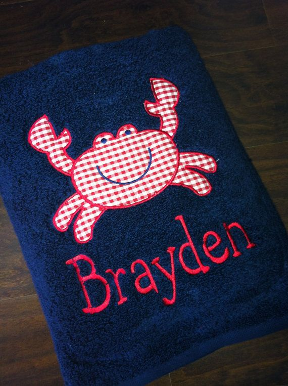 Appliqued Beach Towel Summer Crab by Mimimadeitdesigns on Etsy