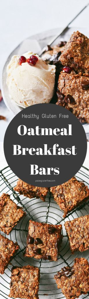 The best ever soft and chewy Oatmeal Breakfast Cookie! Easy gluten free diet recipe. No sugar, just delicious and healthy low calorie dessert for breakfast;) Gluten free breakfast food. This gluten free oatmeal chocolate chip cookie breakfast bar will leave you wanting just one more square…