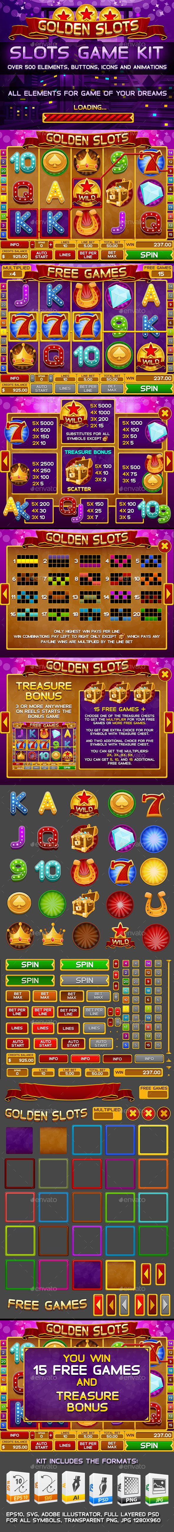 Golden Slots Game, this gaming kit comes with a complete set of elements, icons, buttons and animations