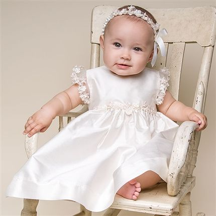 Baby Girl Silk Christening Dress - Leila Christening/Baptism Collection - Designer Gowns & Dresss