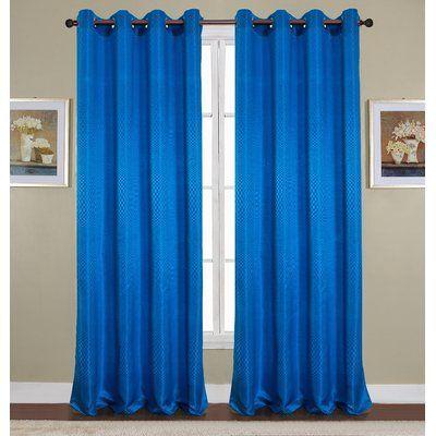 RT Designeru0027s Collection Azure Jacquard Grommet Curtain Panel Color: Royal  Blue