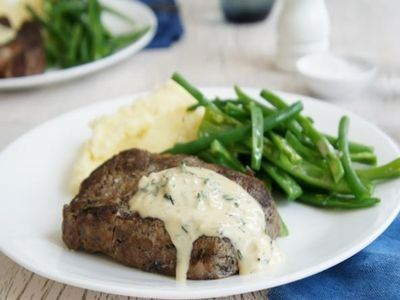 Scotch Fillet Steak with Blue Cheese Sauce and Mashed Potatoes recipe