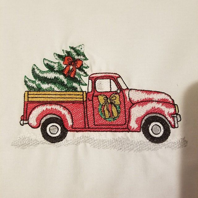 Red Christmas Truck With Christmas Tree Embroidery Design Etsy Christmas Tree Embroidery Design Hand Embroidery Projects Embroidery Designs