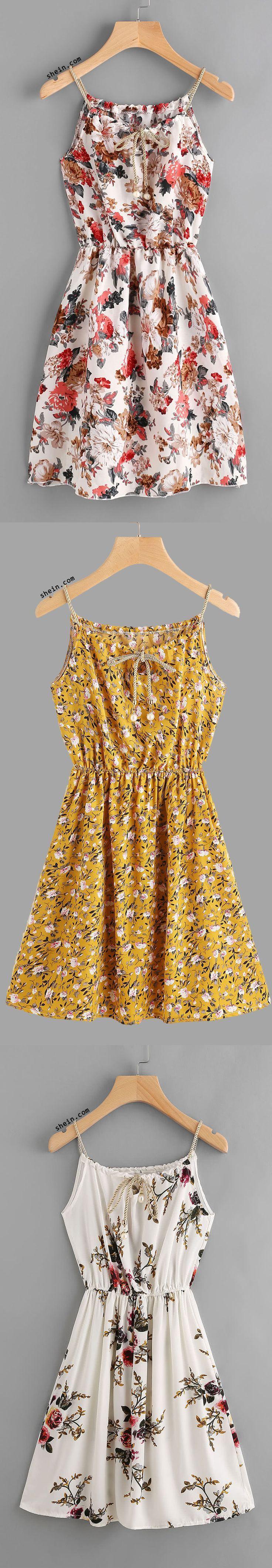 Braided Bead Strap Self Tie Calico Print Dress
