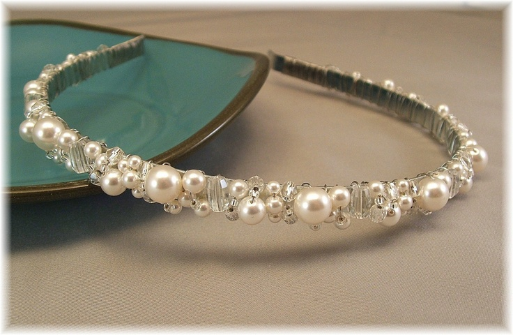 Bridal Tiara - Wedding Hair Accessories - Head Band - Bridal White Pearl and Clear Crystal Tiara. $49.00, via Etsy.