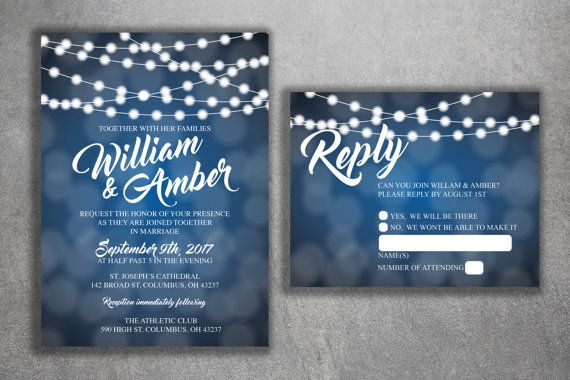 Blue and White Lights Wedding Invitations Set Printed - Cheap Wedding Invitation, Affordable Wedding Invites, Lights, Sparkly, Elegant, RSVP