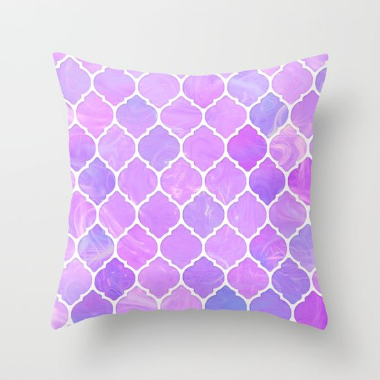 Pink and purple glass Moroccan print Throw Pillow