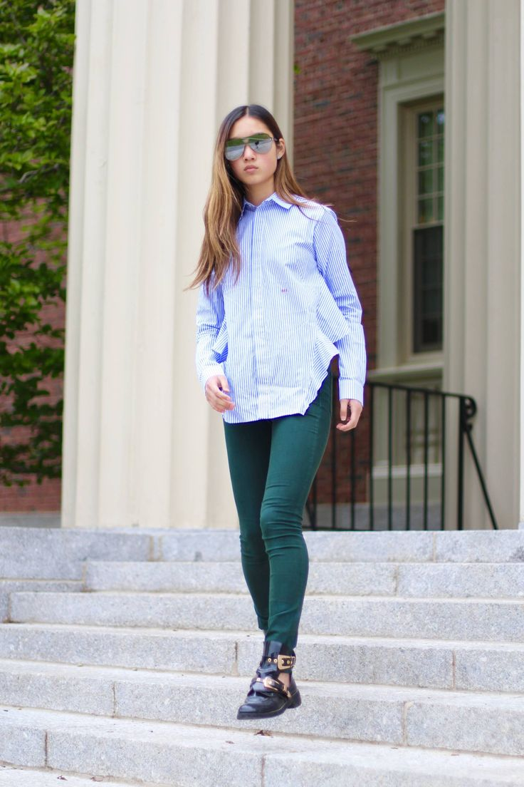 off white woman poplin striped blouse, rag and bone forest green pants, balenciaga ceinture black boots booties, hypebeast style, street style, boarding school style, spring style inspiration, reworked blouses, fashion blogger style inspiration, virgil abloh style