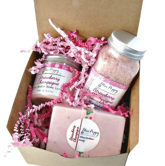 Strawberry Champagne Gift Set includes a 4 oz. Soap, 4.5 oz. Body Lotion and 8 oz. Bath Salts. Bubbly Champagne combined with the sweetness of Strawberries. A wonderful gift idea for Bridesmaid Gifts, Bridal Shower, Mothers Day Gift, New Moms or any other occasion.  The shea butter pink soap is scented with Strawberry Champagne and has added Strawberry Seeds for gentle exfoliation. Not heavy or greasy, the shea butter body lotion leaves your skin silky smooth. Bath Salts with Dead Sea Salts…