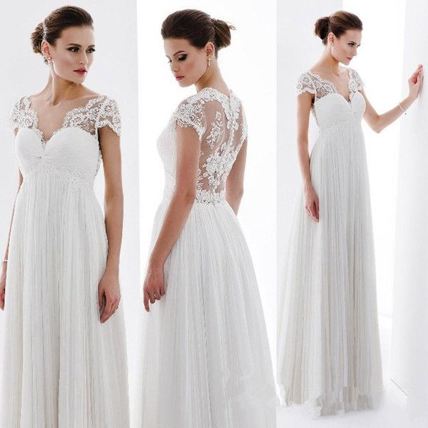 Cheap 2015 Summer Lace Empire Maternity Wedding Dresses Cap Sleeves See Through Bridal Gowns Custom Made A Line Dress As Low 6031