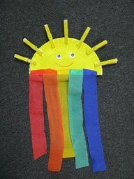 Great Noahs' ark craft- yellow paper plate and clothes pins with crepe paper rainbow