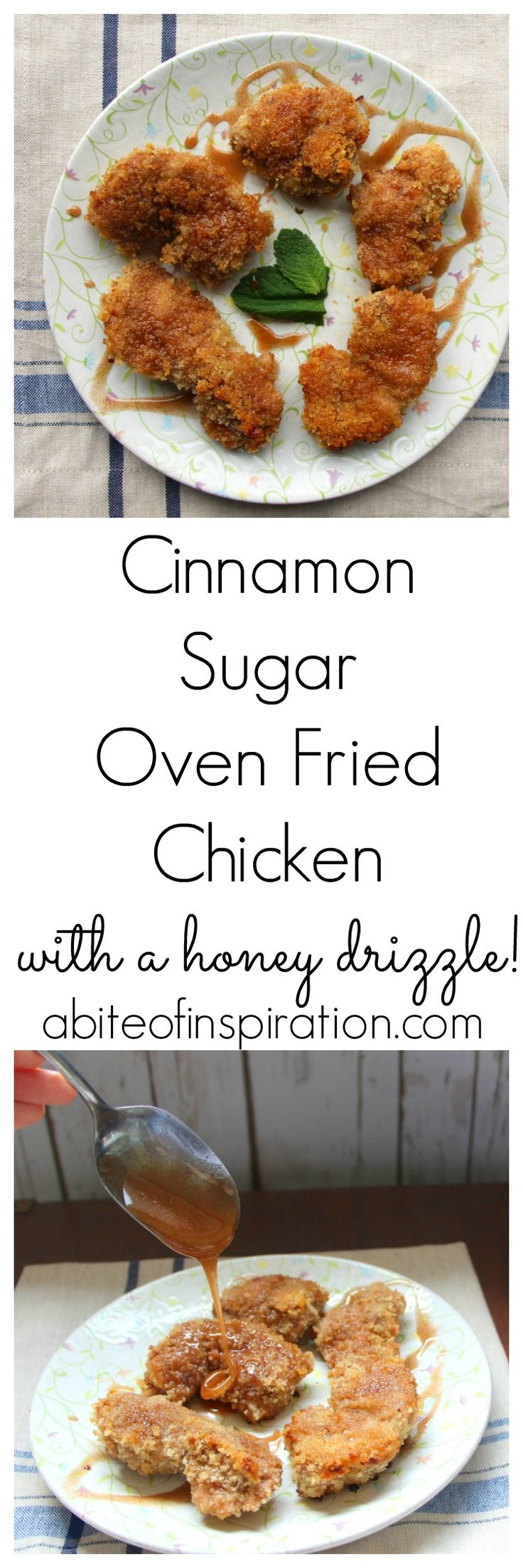 My Cinnamon Sugar Oven Fried Chicken is crunchy, slightly sweet, and incredibly tasty! Plus a drizzle of cinnamon honey on top-- perfection!