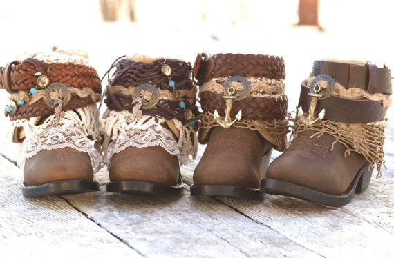 one pair CHILD or youth boy or girl toddler baby kids size upcycled NEW western leather boho boots custom - choice of styles - wedding boots