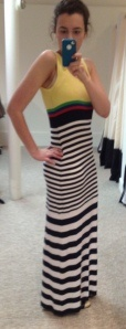 You've got to read Miss Underpinnings' blog post about why the stripes make this maxi work for her.