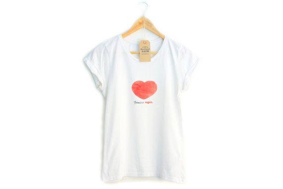 Genuine SUGAR t-shirt per donna, maniche arrotolate, bianca