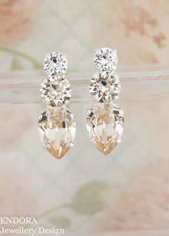 Champagne bridal earrings   champagne wedding   Swarovski   teardrop earrings   endorajewellery.etsy.com