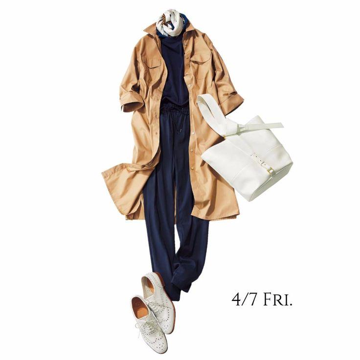 シャツワンピをトレンチコート感覚で羽織ってスポーティに着こなしてMarisol ONLINE|女っぷり上々!40代をもっとキレイに。