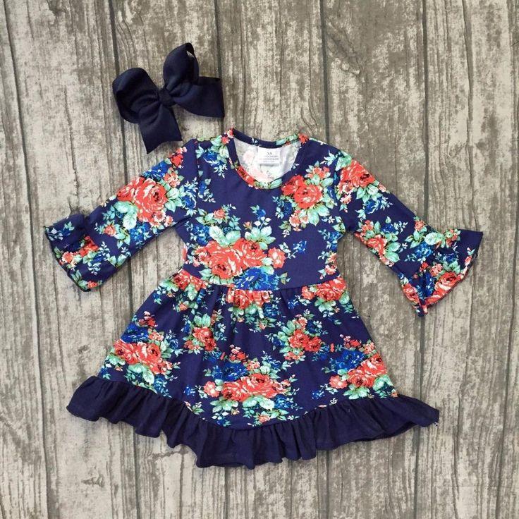 Blue Floral Ruffle Dress 2PC