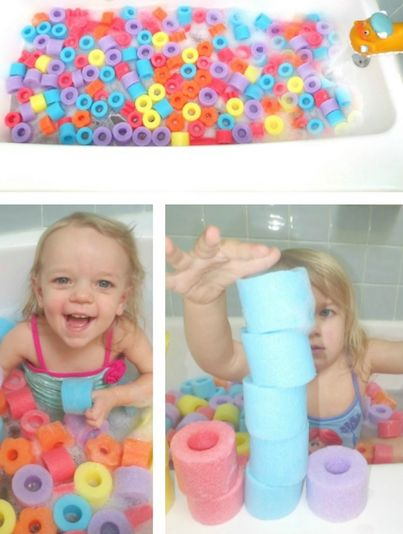 Cut up pool noodles and fill the bathtub with them for a fun look and something for the kids to play with!!
