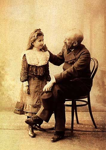 Osman Hamdi Bey with his daughter Nazlı. He (1842 – 24 February 1910)  an Ottoman statesman, intellectual, art expert and also a prominent and pioneering Turkish painter and archaeologist.