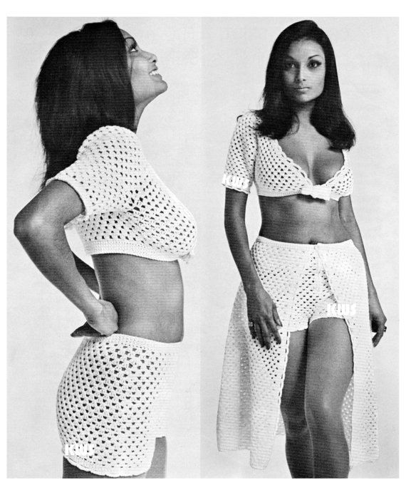 **** INSTANT DOWNLOAD ****    Vintage 70s Crochet SHORTS & Skirt, Midriff Top - PDF Pattern - UK Terms Vintage 70s Crochet Shorts, Skirt & Midriff