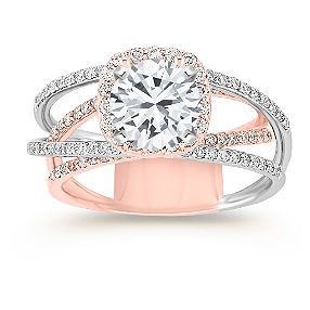 Halo Diamond Engagement Ring in 14k Rose and White Gold with Pave Setting shown with diamond center; your choice of ruby, sapphire or diamond center