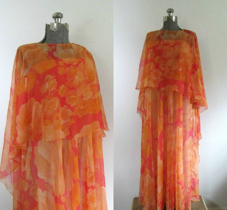 1970s Full Chiffon Gown Shades of Orange Two Piece Chiffon Cape A.J. Bari Maxi - pinned by pin4etsy.com