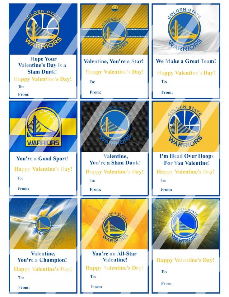 Golden State Warriors Valentines Day Cards Sheet #1 (instant download, printed)