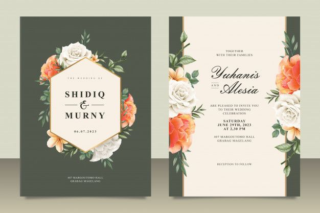 Wedding Card Template With Frame Floral Wedding Cards Wedding Card Templates Wedding Invitation Vector