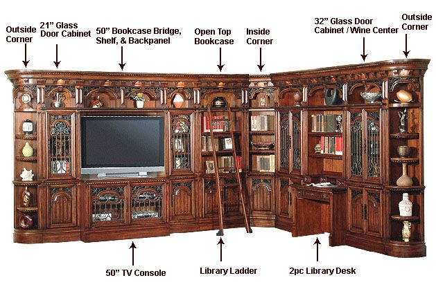 Interlocking rail system - small home library ideas ;)  Okay, I don't like the furniture style but if I could do one wild, cool home upgrade to thrill my hubby, it would be a mini home library.  The sliding rails could also be useful in other rooms for - ahem - shorter folks....