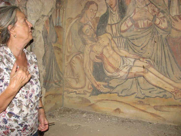 Uno de los frescos más bellos de la Ermita de San Jorge, junto a la Torre de los Mogollones
