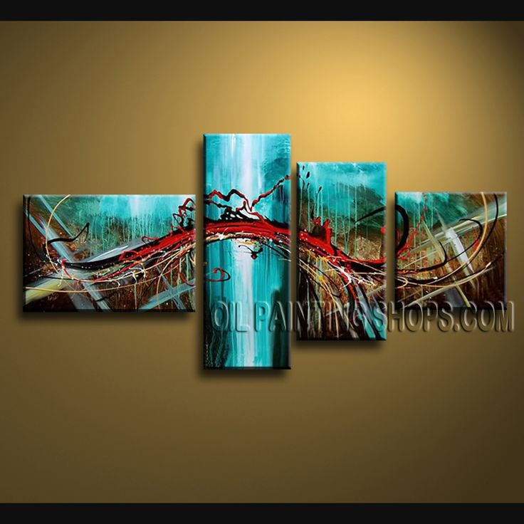 Amazing Modern Abstract Painting High Quality Oil Painting For Living Room Abstract. This 4 panels canvas wall art is hand painted by A.Qiang, instock - $163. To see more, visit OilPaintingShops.com