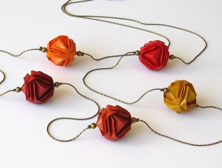 Collier origami, sautoir boules japonaises camaïeu d'automne : Collier par kirikat