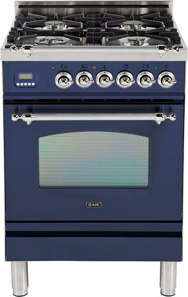 Ilve UPN60DVGGBLX 24 Inch Freestanding Gas Range with 4 Semi-Sealed Burners, European Convection, Heat-Insulated Door, Multi-Gas Burners, Flame Failure Safety Device, Warming Drawer and Chrome Trim: Midnight Blue
