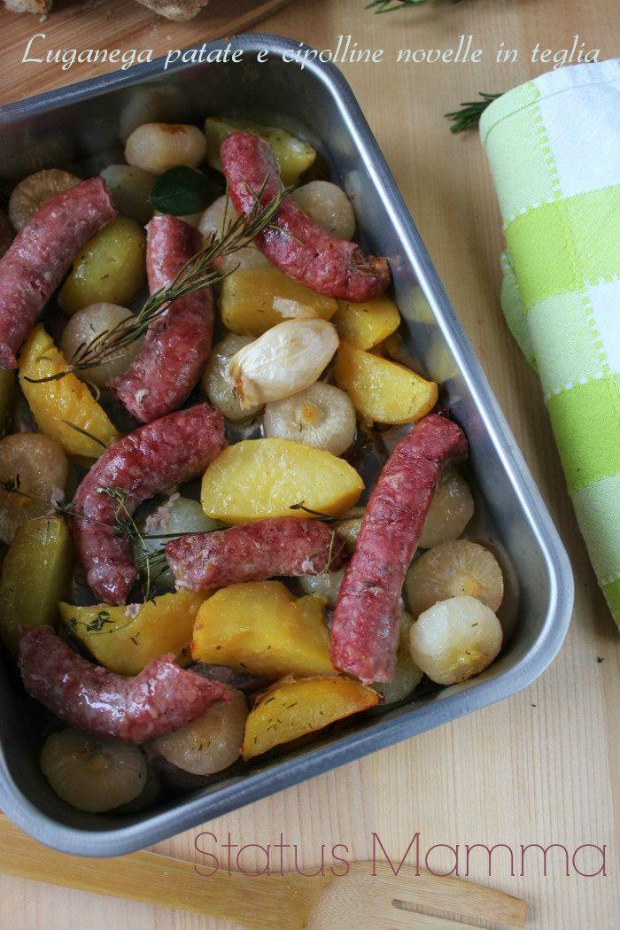 Luganega patate e cipolline novelle in teglia ricetta cottura al forno cucinare foto blog blogGz Giallozafferano salsiccia cipolline novelle borettane