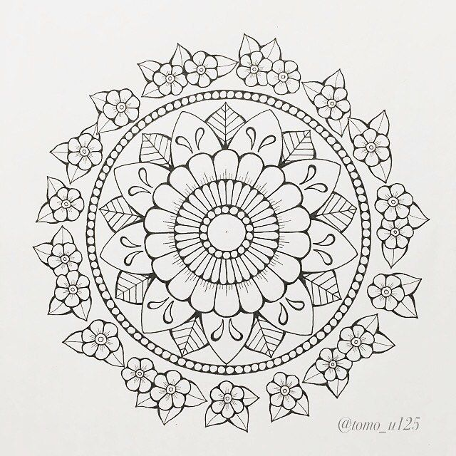 塗り絵っぽく描いて見ました!! * #マンダラ #曼荼羅 #大人の塗り絵 #線画 #ペンアート #mandala #mandaladesign #mandaladrawing #mandalaart #mandalazen #zendala #flowermandala #flowerdrawing #pendrawing #penart
