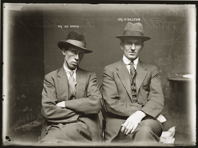 Mug shot of De Gracy (sic) and Edward Dalton. Details unknown. Central Police Station, Sydney, around 1920. (Photo by NSW Police Forensic Photography Archive, Justice & Police Museum, Histiric Houses Trust of NSW)