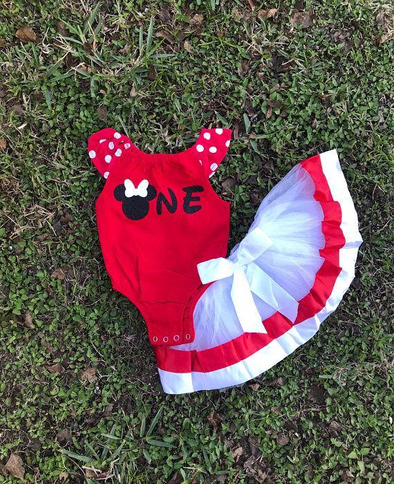 Red Minnie 1st Birthday Onesie with tutu skirt/ Age One/mickey Birthday outfit / White red tutu skirt