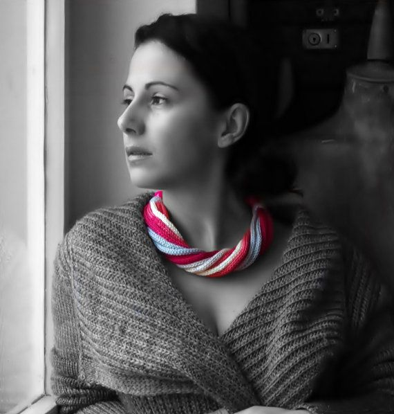 knitted necklace with beads / statement bib necklace / by EvaSinai