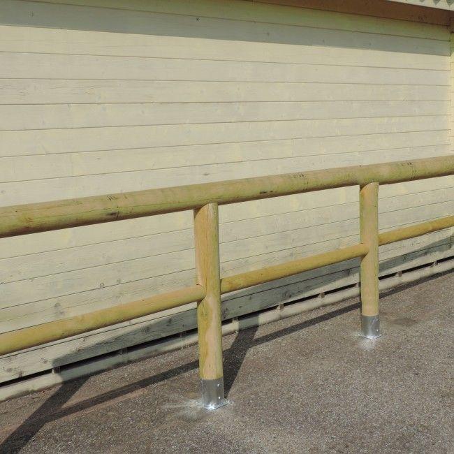 Staccionata a 1 traversa + corrimano in Pino certificato - Staccionate in legno a pali - Steccati, Pali, Grigliati - Giardino Terrazzo