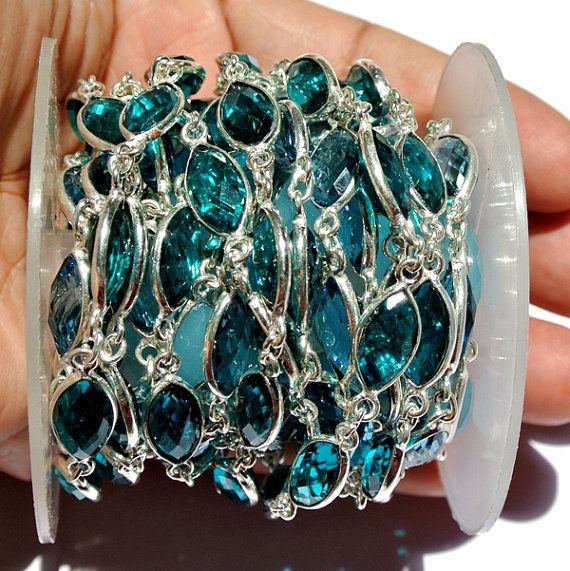 Teal Blue Quartz Bezel Set Marquise Chain by RareGemsNJewels