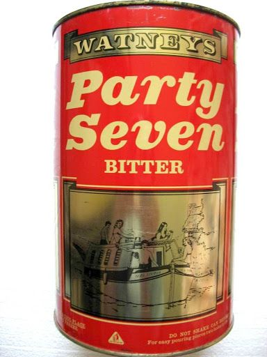 Watney Mann brewed their Red Barrel keg (ie pasteurised) bitter beer at Mortlake brewery, London throughout the 1960s. They introduced Red Barrel in Party Four (4-pint) and Party Seven (7-pint) sealed tins as take away (take to party) products during the 1960s, the latter selling for 15/- (75p) a tin. When opened, usually with a screwdriver and hammer, they used to get a bit lively !