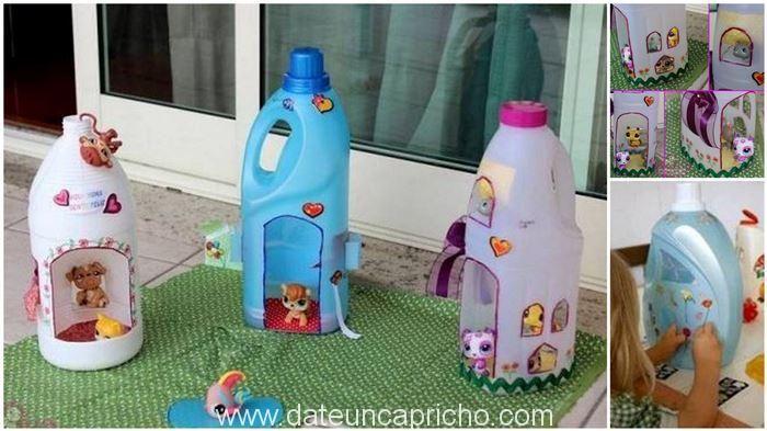 ¿Sabías que puedes crear juguetes con materiales descartables? Hoy vamos a realizarcasas de muñecas con botellas de lejia o detergente liquido,esta son muy bonitas y sencillas de realizar.Podemos elegir realizar el diseño que se desea