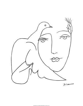 Picasso Line Drawings | This drawing of a dove on a girl's face makes me think of the Dove ...