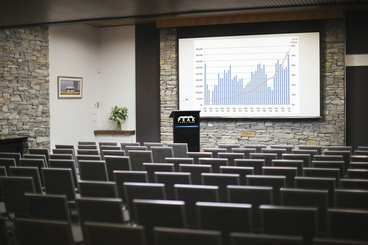 Main plenary room in full swing with a perfect theatre style set up and complimentary AV equipment ready to go at Peak Functions, Wanaka. Thanks yet again Nadine Cagney Photography for capturing this one. #conferenceinwanaka
