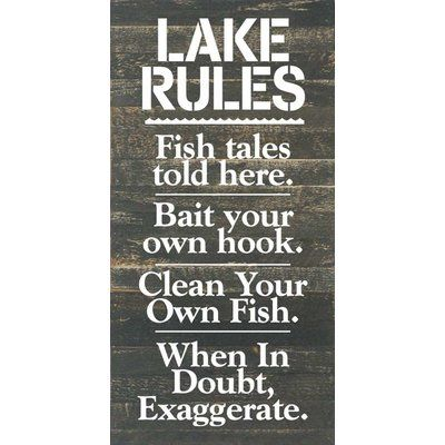 Artistic Reflections 'Lake Rules. Fish Tales Told Here…' Textual Art on Dark Wood